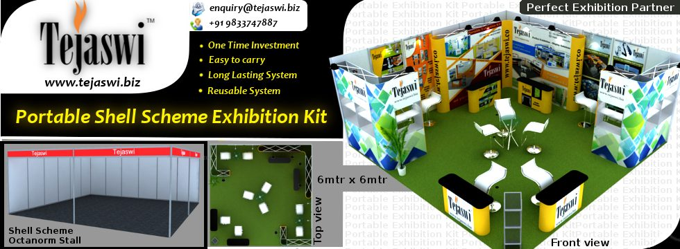 L Shaped Exhibition Stall : Portable exhibition kit shop stall