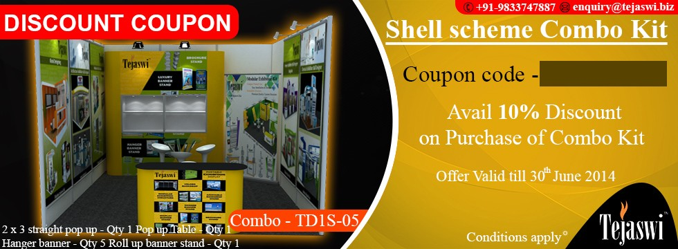 3x3 mtr 2 side open Portable Exhibition Combo Kit TD2S-05