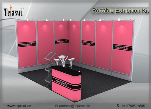 4 meter x 3 meter Portable exhibition kit 2 side Open_432S-1