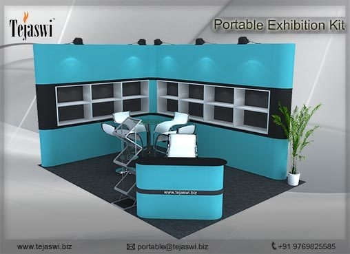 4 meter x 3 meter Portable exhibition kit 2 side Open_432S-6